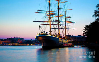 Photograph - Ship At Sunset In Stockholm by Michal Bednarek