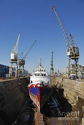 Photograph - Ship Being Repaint In Dry Dock by Sami Sarkis