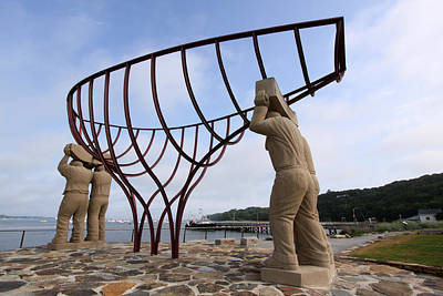 Ship Builders Sculpture Port Jefferson New York Art Print by Bob Savage