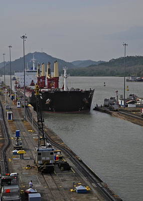 Photograph - Ship Entering Panama Canal Lock by Kirsten Giving