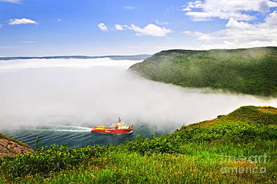 Boat Harbour Wall Art - Photograph - Ship Entering The Narrows Of St John's by Elena Elisseeva