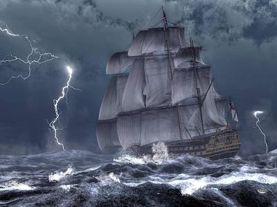 Ship In A Storm Art Print by Daniel Eskridge