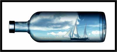 Art Print featuring the digital art Ship In Bottle... by Tim Fillingim