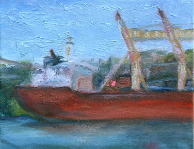 Painting - Ship In Port - Original Impressionist Painting - Affordable Art by Quin Sweetman