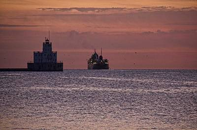 Photograph - Ship Leaving Harbor by Daniel Sheldon