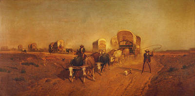 Conestoga Digital Art - Ship Of The Plains Covered Wagons by Samuel Colman