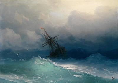 Ship On Stormy Seas Art Print