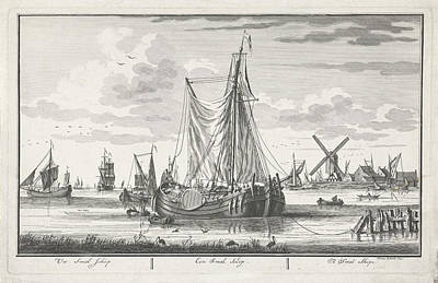 Adolf Drawing - Ship On The Water, Adolf Van Der Laan, Pieter Schenk II by Quint Lox