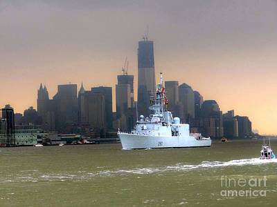 Photograph - Ship Passing World Trade Center by Ed Weidman