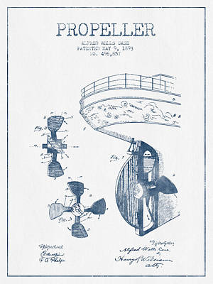Ship Propeller Patent From 1893  -  Blue Ink Print by Aged Pixel