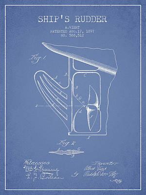 Ship Rudder Patent Drawing From 1887 - Light Blue Art Print
