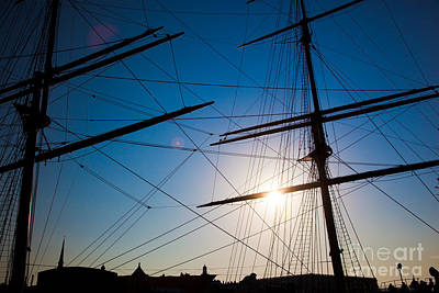 Calm Photograph - Ship Sails Silhouette At Sunset by Michal Bednarek