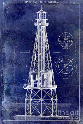 Ship Shoal Light House Blueprint Art Print by Jon Neidert