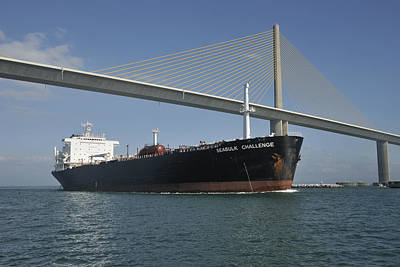Ship Under Sunshine Skyway Bridge Art Print