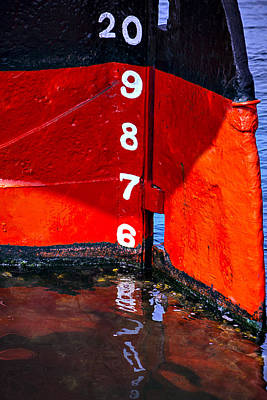 Harbor Dock Photograph - Ship Waterline Numbers by Garry Gay