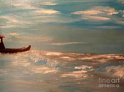Restaurant Art Painting - Ship Wrecked On A Wave by James Daugherty