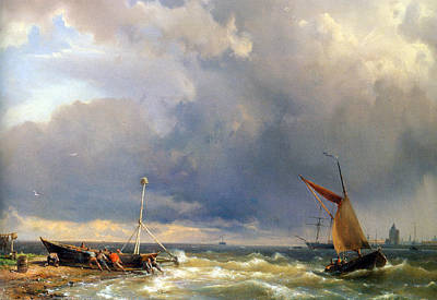 Shipping In A Stiff Breeze Art Print by Hermanus Koekkoek