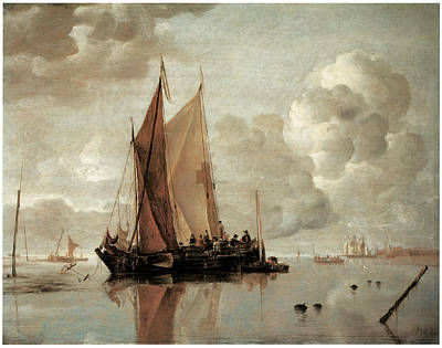 Shipping In Calm Waters Of An Estuary A Harbor Town In The Distance Art Print by Jan van de Cappelle