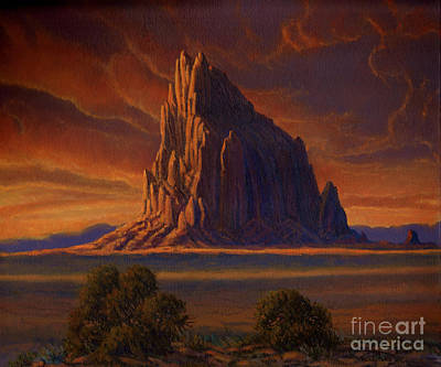 Indian Cultural Painting - Shiprock Sunset by Randy Follis