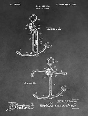 Drawing - Ship's Anchor Patent by Dan Sproul