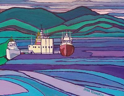 Shipping Mixed Media - Ships At Patricia Bay by Janet Ashworth