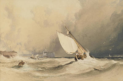 Seagull Painting - Ships At Sea Off Folkestone Harbour Storm Approaching by Anthony Vandyke Copley Fielding