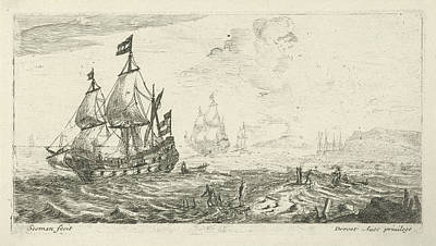 Ships Before Coast, Print Maker Anonymous Art Print
