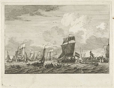 Ships Heading In Vlaardingen, The Netherlands Art Print by Gerrit Groenewegen