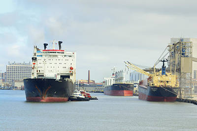 Photograph - Ships In Galveston Harbor by Bradford Martin