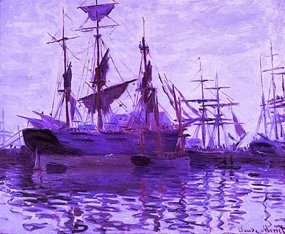 Ships In Harbor Enhanced Violet IIi  Art Print by Claude Monet - L Brown