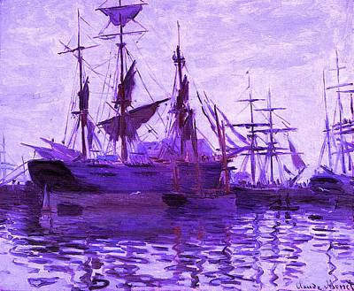 Ships In Harbor Enhanced Violet IIi Upsized Art Print by Claude Monet - L Brown