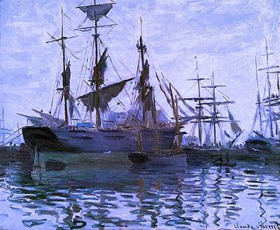 Ships In Harbor Enhanced Xi Art Print by Claude Monet - L Brown