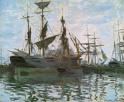 Ships In Harbor Upsized And Enhanced Art Print by Claude Monet - L Brown