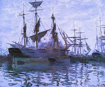 Ships In Harbor Upsized Enhanced II Art Print by Claude Monet - L Brown