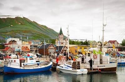 Photograph - Ships In Husavik Harbor Iceland Europe by Matthias Hauser