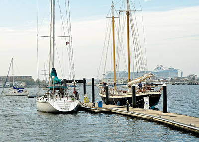 Photograph - Ships In Newport Harbor by Mitchell R Grosky