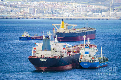 Photograph - Ships In The Gibraltar Harbor by Deborah Smolinske