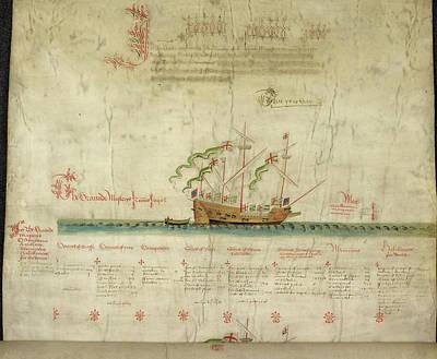 Ships In The King's Navy Fleet From 1546 Art Print