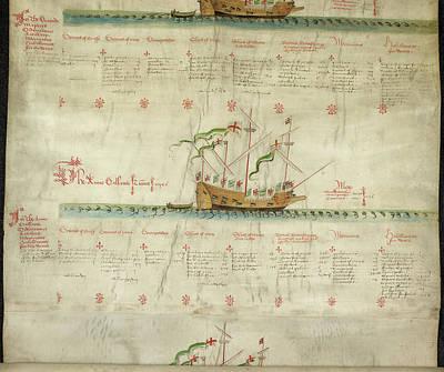 Ships In The King's Navy Fleet From 1547 Art Print