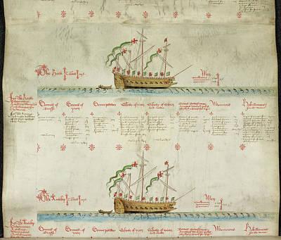 Ships In The King's Navy Fleet From 1548 Art Print