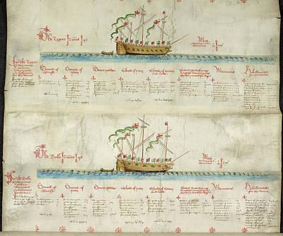 Ships In The King's Navy Fleet From 1550 Art Print