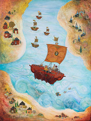 Jerusalem Painting - Ships by Michoel Muchnik