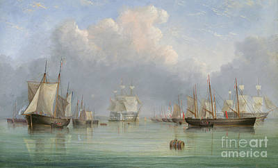 Frigates Painting - Ships Off Ryde by Arthur Wellington Fowles