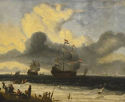 Storm Painting - Ships Off The Coast by Celestial Images