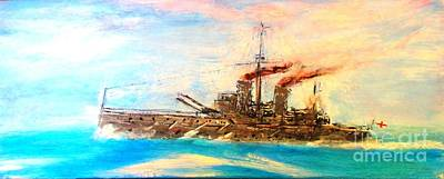 Painting - Ship's Portrait - Hms Dreadnought 1908 by Marco Macelli