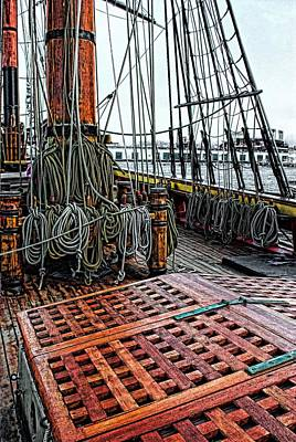 Ships Rigging And Cargo Hatch Art Print by Don Bendickson