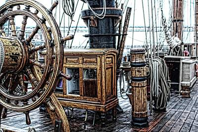 Ships Wheel And Compass Cabinet Art Print by Don Bendickson