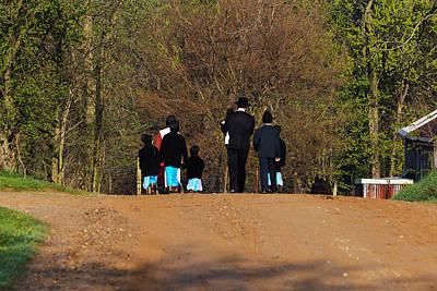 Shipshewanna Amish Family On Their Way To Church Art Print by Jay Dreifus