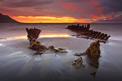 Hofsos Photograph - Shipwreck At Sunrise by Jon Hilmarsson