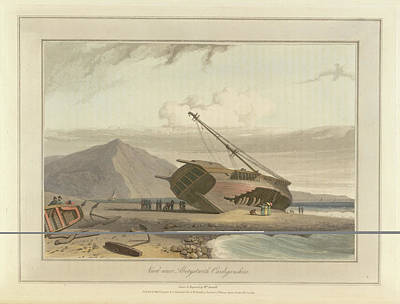 Cymru Photograph - Shipwreck Beached On Shore by British Library